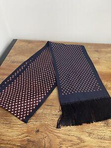 Brioni Scarf Silk & Wool  20cm x 1890cm Navy/Bordeaux BNWT RRP £390