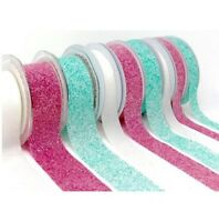 Crystal Glitter Ribbon x 2 metres Cakes / Cards / Weddings Pink / White
