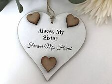 Sister Plaque Sister Gift Shabby Chic Heart Plaque Friend  Friendship Sign S06