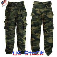 US Mens Camouflage Cargo Pants Casual Combat Camo Trousers Army Military Bottoms
