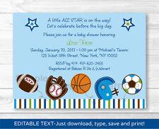 Sports Football Baseball Soccer Printable Baby Shower Invitation Editable PDF