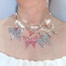 Fashion Butterfly Rhinestone Choker Chain Pendant Necklace Women Jewelry Gift