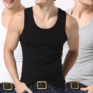 Men Vest Sleeveless Cotton T-shirt Tank Tops Muscle Gym Solid Summer Casual ca