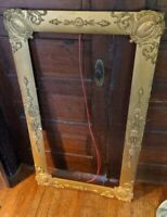 ANTIQUE HUGE LARGE RARE WOOD GILT PICTURE FRAME 1900S VICTORIAN VTG 43X21/51X28