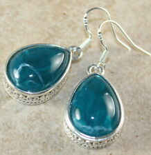 SILVER Vintage Style Green Agate Teardrop Earrings Woman Gift Jewelry