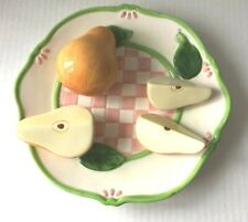 3D Majorica Pears Hand-Painted Decorative Ceramic Plate