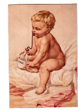 Ridge's Food Blanc Mange Woolrich & Co Naked Baby Sucking Food Vict Card c1880s