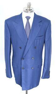 NWT STEFANO RICCI Blue Cashmere Silk Double Breasted Peak Sport Coat 56 (EU) 46L