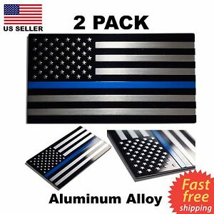 3D Metal Thin Blue Line Flag Decal Stickers (2 Pack)