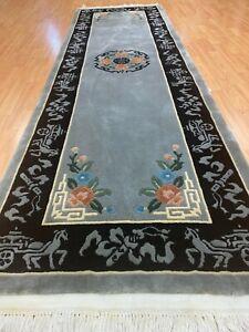 "2'6"" x 8'1"" Chinese Art Deco Oriental Rug - Full Pile - Hand Made - 100% Wool"
