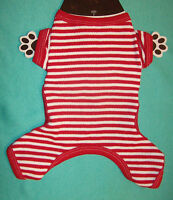 New Size XS Red White Stripe Union Suit Dog Pajamas Sleepwear Dog Clothes Pet