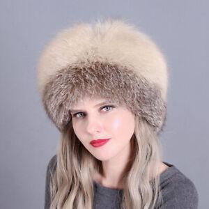 2020 Woman Russian Real Fox Fur cap Winter Ski Ear hat Keep warm Warmth