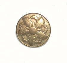 ANTIQUE EARLY ONE PIECE METAL BUTTON RICH GOLD COLOR BACK MARK PINWHEEL MILITARY