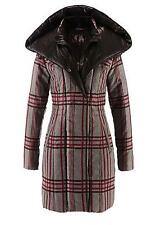 WOMEN'S BON PRIX QUILTED WINTER COAT, GREY CHECK, SIZE 18, EUR 44, NEW NO TAGS