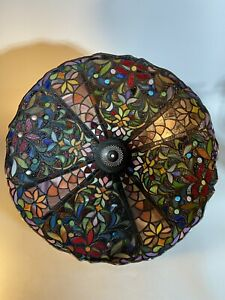 "Striking Vintage Tiffany Style Large glass lampshade 20"" Diameter (#2)"