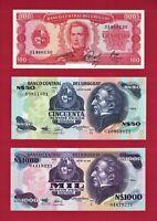 URUGUAY UNC 50 Pesos 1989 (P-61Ab), 100 Ps 1967 (P47a.8) & 1000 Ps 1991 (P-64Aa)