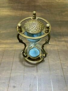 Antique Nautical Brass Engraved Hourglass Maritime Table Top Decor Sand Timer.