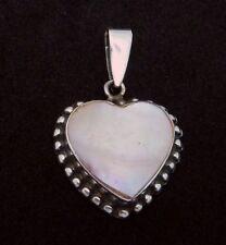 Vintage Sterling Silver MOP Beaded Heart Pendant 23495