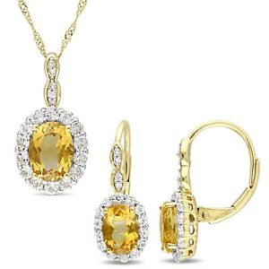 Amour 14k Yellow Gold Citrine White Topaz & Dia. Necklace and Drop Earrings Set