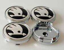 Skoda Wheel Center Caps Alloy Badge Emblem Center Hub Cap Set 60mm Black/Silver