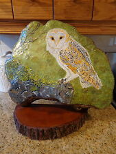Cabin Rustic Barn Owl Hand-Painted Large Tree Conk Folk Art/By the Artist