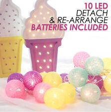 LuxLumi Multi Color Cotton Ball LED String Lights for Bedroom Kids Teen Nursery
