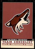 2020-21 O-Pee-Chee Retro Black Team Checklist 552 Arizona Coyotes /100