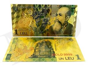 Romania - complete set of 9 banknotes polymer plated with 24k gold