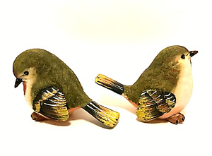 Bird Figurines Two Detailed Resin Green Cream Brown Small Birds 3.5 inches Tall