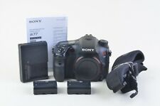 EXC++ SONY  A77 24.3MP DSLR SLT-A77V 16K ACTS, 2BATTS, NEO STRAP, 16GB CARD NICE