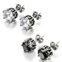 10mm Round Cut Cubic Zirconia Men Women Stainless Steel Ear Stud Earrings 2pcs