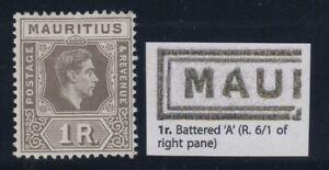 "Mauritius, SG 260ba, MHR ""Battered A"" variety"