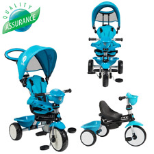 Little Kids Blue 4-in-1 Trike Baby Push Pedal Along Tricycle Stroller Buggy Bike