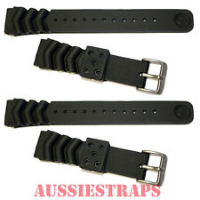 TWO x SEIKO Z20 Rubber Strap 20mm Divers Watch Band Wave Vent Dive SKX013 / 015
