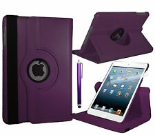 PURPLE 360° Rotating iPad MINI 2 RETINA SMART PU Leather Cover Case + Protector