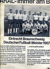 Aral--immer am Ball-- Eintracht Braunschweig--Meister 1967--Werbung von 1967-