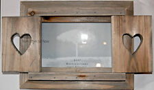 Chic & Shabby Love Heart Shutter Doors Wooden Rustic Photo Frame Standing 6 x 4""