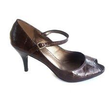 Predictions Womens Peep Toe Ankle Strap Pump Brown Croc Print Size10 Shoes