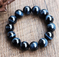 Genuine Natural Hawk Eye Gemstone Round Beads Bracelet AAAA 16 mm