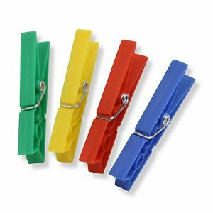 Plastic Clothespins, 24-Pack, Assorted Colors Spring Clip Clothes Hanger Pin