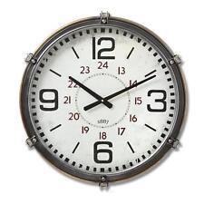 52cm Retro City Metal & Glass Clock Black Red White w Arabic Dial