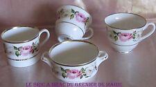 Lot de tasses en porcelaine anglaise Royal Worcester Royal Garden décor de roses