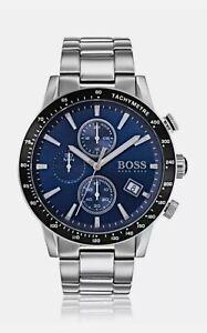Mens Hugo Boss Designer Watch Chronograph Blue Dial Genuine RAFAEL 1513510