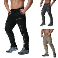 Punk Mens Rock Club Hip Hop Long Pants Chain Metals Goth Military Trousers New