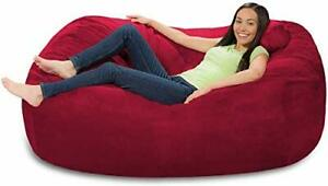 Red Velvet Giant Bean Bag Cover Chair 6ft Large Lounger Bean Bags Without Beans
