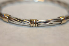 Sterling Silver 14K Yellow Gold Accents Hinged Bangle Bracelet Italy MB