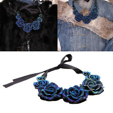 Vintage Blue Rose Camellia Resin Rhinestone Fake Collar Lace Clavicle Necklace