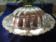 OLD ENGLISH REPRODUCTION 42 SILVER PLATED VICTORIAN BISCUIT - SERVING TRAY & LID