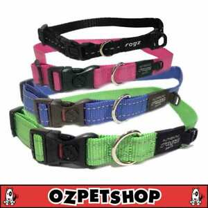 Rogz Utility Classic Dog Collar - Side Release Reflective Stitching - 9 Colours