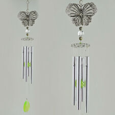 "Butterfly Wind Chime Silver & Green Gem Hanging Decor Metal Suncatcher 17"" 11353"